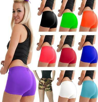 HOT PANTS Girls Ladies Stretchy Neon Lycra Dance Gym Lot Party Shorts Knicker