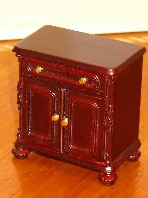 Bespaq Mahogany Side Chest with Drawer & Doors - Dollhouse Miniature