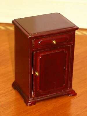 Bespaq Mahogany Side Cabinet with Drawer & Door - Dollhouse Miniature