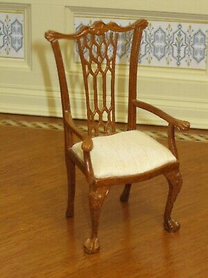 Bespaq Walnut Chippendale Arm Chair with Ivory Upholstery - Dollhouse Miniature