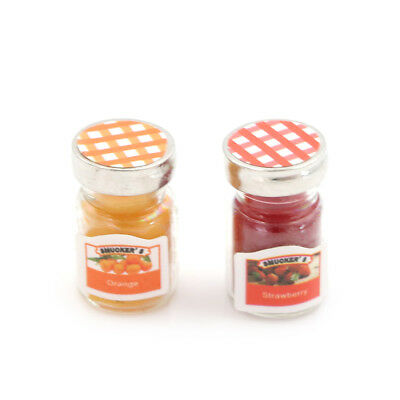 2pcs/lot Dollhouse Miniatures Jam Pretend Food Toy for Kitchen AccessorieFLA