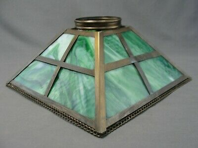 Antique Arts and Crafts Mission Green Slag Glass 4 Panel Light Lamp Shade Brass