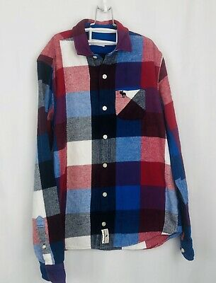 Boys Abercrombie & Fitch Red Blue Black Flannel Size 15/16