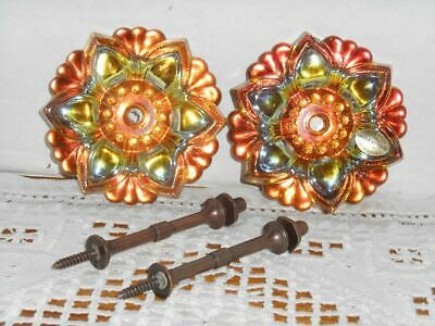 Vintage Pair Glass Curtain Tie Backs Holders Czech Made Iridescent Hardware NOS