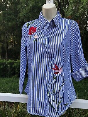Roommates Long Sleeve Blue White Stripes Flower Accent Size: Small