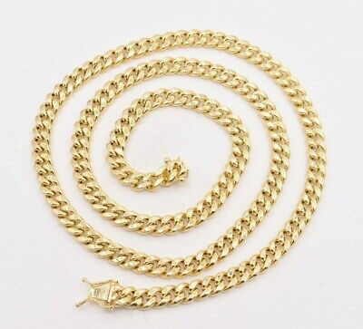 6mm Mens Miami Cuban Royal Link Chain Necklace Box Clasp Real 10K Yellow Gold