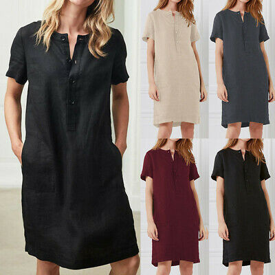 Women Casual Loose Short Dress Fashion Elegent Solid Color Button Sundress W