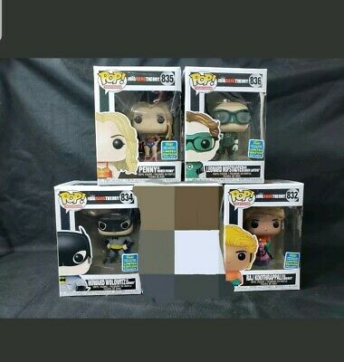 SDCC Funko Pop Hero Set  Big Bang Theory Collect All 5 Boxes have little damage