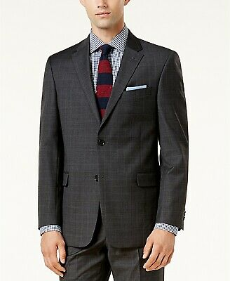 $450 Tommy Hilfiger 44l Men'S Gray Wool Plaid Blazer Sport Suit Coat Jacket
