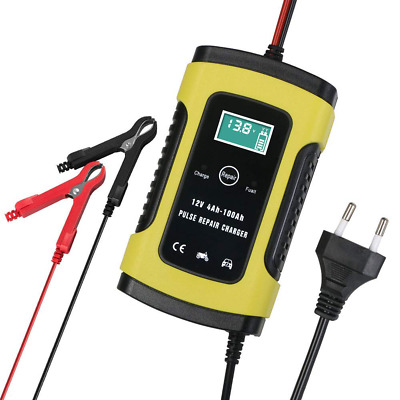 6V 12V Intelligent Charger 4Ah-100Ah Car Motorcycle Car Charger Yellow