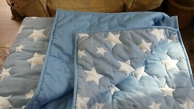 Laura Ashley 'Star' Padded Quilt, Kids, Bedspread, 190 X 140, Blue And White