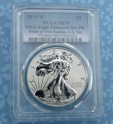 2019 W PCGS Proof 70 Enhanced Reverse Proof American Silver Eagle, 1 oz Silver