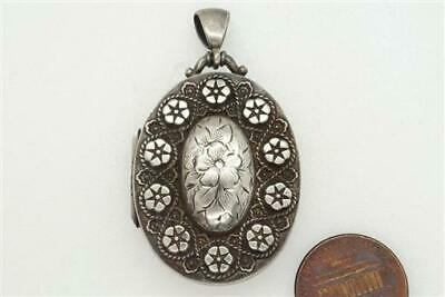 ANTIQUE VICTORIAN ENGLISH STERLING SILVER FLORAL LOCKET c1884 NO RESERVE