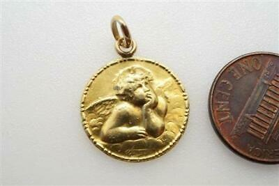 Cute Antique French 18K Gold Raphaels Cherub Medal Charm No Reserve