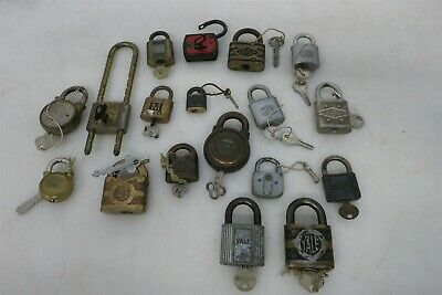 Lot of 18x Collectible Padlocks with Keys Yale Rollfast Corbin