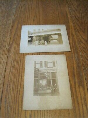 Two Very Early NYC Photographs Aug Frank & Jewelry Store 1895 1898 Sepia Cabinet