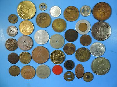 Lot of 35 Tokens & Medals Good For Encased So-Called Worlds Fair NCO Masonic