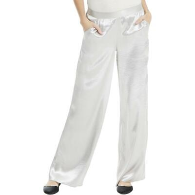 Max Studio Womens Silver Satin Flare Pull On Wide Leg Pants XS BHFO 7860