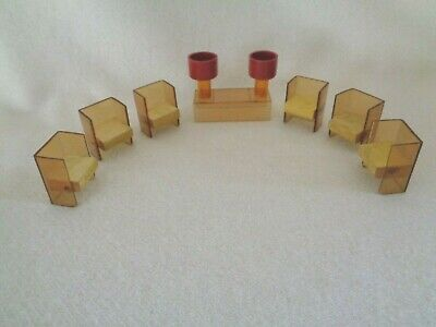 Art Deco Mid Century Dollhouse Miniature Furniture Plastic Chairs Table Lamps