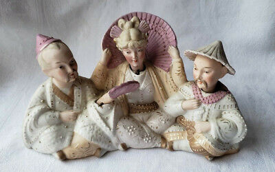 Antique Oriental Bisque Nodder Figurines Rare Unique Early Collectable Pink