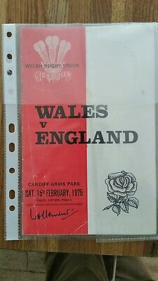Wales v England rugby programme 1975