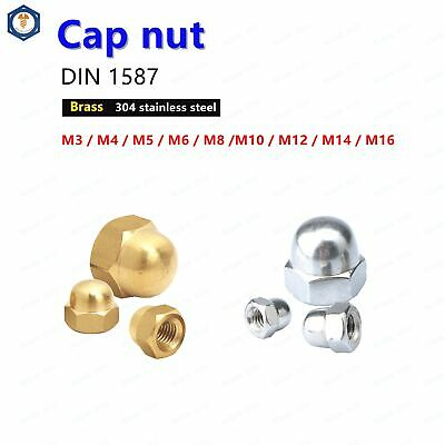 M3 M4 M5 M6 M8 M10 M12 M14 M16 Hex Acorn Nuts Hex Cap Nut Brass & 304 Stainless