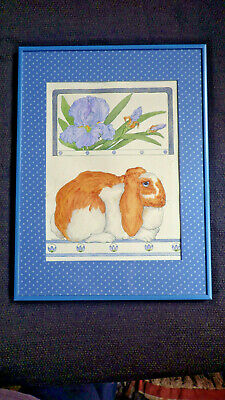 Gervaise Livingston Ink & Watercolor Painting 1985 Rabbit & Irises Framed 12x16