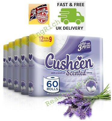 Cusheen Quilted Luxury Lavender Scented 3 Ply Toilet Tissue Paper - 60 Rolls