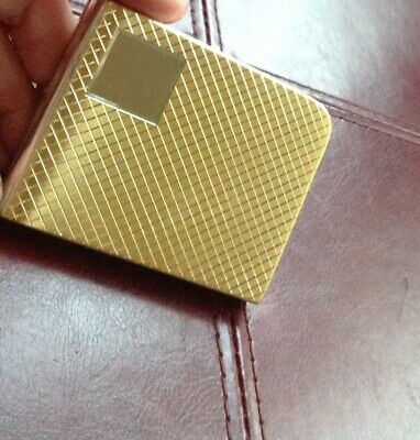 New 1950's Vintage business card holder gold metal compact mirror