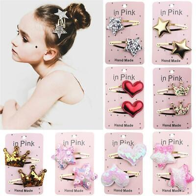 Kids Pentagram Heart Crown Styles Baby Girls HairPin Hair Clips Toddlers Jewelry