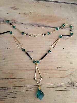 art deco Vintage Style Teal Green Faceted Glass Crystal bead Paste necklace