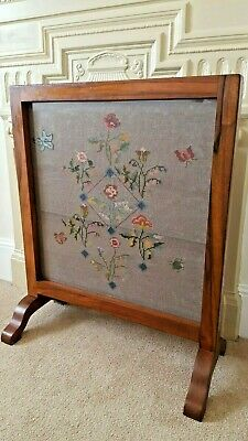 Antique Vintage Wooden Framed Fire Screen Guard Tapestry Panel Under Glass