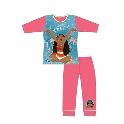 Girls Kids Disney Moana Long Sleeve Pyjamas pjs Slee[wear  Age 4-10 Years