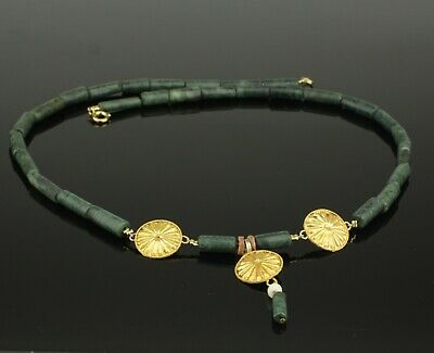 BEAUTIFUL ANCIENT ROMAN GOLD & MALACHITE BEAD NECKLACE   2nd Century AD   (101)