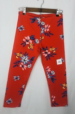 Girls Old Navy Crop Leggings Red with Floral Print Size XL/14