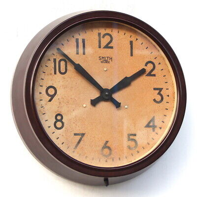 ENGLISH SMITHS 1950s Bakelite Vintage Retro Industrial Factory Wall Clock