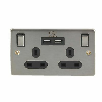 Stainless Steel Double Wall Plug Socket 2 Gang 13A with 2 USB Port Outlets Plate