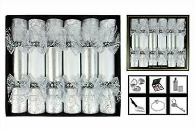 Pack of 6 - 30cm Luxury Handmade Silver Crackers - Lace & Glitter Details