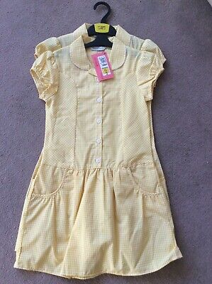 BNWT Girls Age 6-7 M&S Yellow Mix (2 Pack) Short Sleeve Cotton Rich School Dress