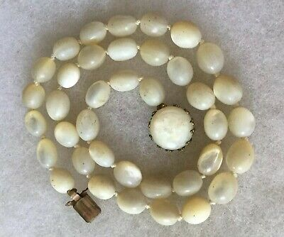 Antique Victorian Mother Of Pearl Knotted Oval Beaded Original Clasp Necklace.