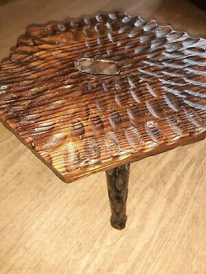 Antique arts and crafts Wooden Carved milking Stool