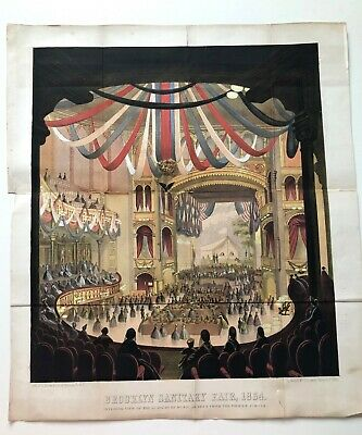 GORGEOUS orig. 1864 colored lithograph BROOKLYN SANITARY FAIR ACADEMY MUSIC
