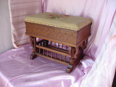 Antique Ginger Bread Trim Eastlake Era Wood Bench Storage Seat Vintage Stool