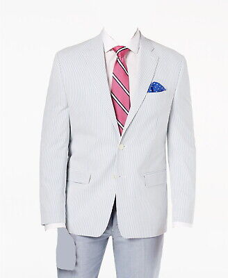 $745 Ralph Lauren Mens 56r Blue Classic Fit Sport Coat Seersucker Jacket Blazer