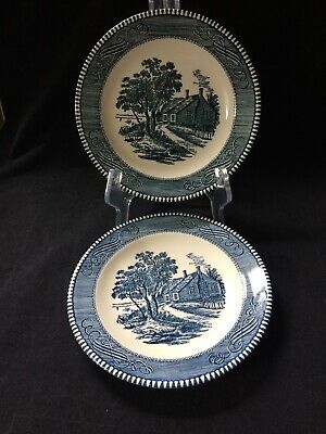 """PAIR CURRIER & IVES BLUE By Royal Salad Plate(s) 7 1/4"""" ~Washington's Birthplace"""