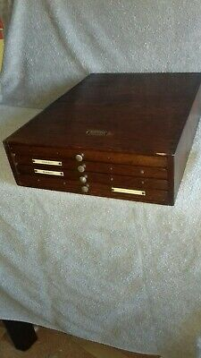VTG Masseeley Oak Wood Printers Cabinet Collector Engineer Art 4 Shallow Drawers