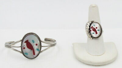 Sterling Silver Mother Of Pearl Coral & Turquoise Inlay Ring & Bracelet #6658-3