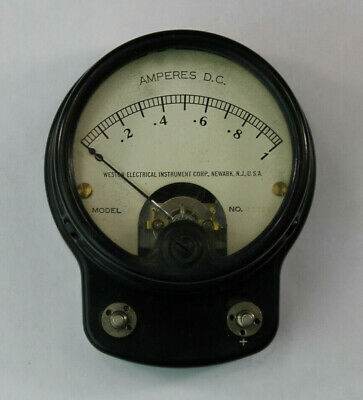 Vtg WESTON ELECTRICAL INSTRUMENT CORP. MODEL 47724 AMPERES DC 1-10 METER GAUGE