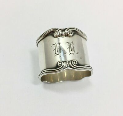 Antique Gorham Scroll Design Napkin Ring 8643 Sterling Silver Monogrammed