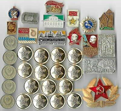Rare Old Russia LENIN Vintage Badge Coin Collection CCCP WAR Russian Lot:us-Q53